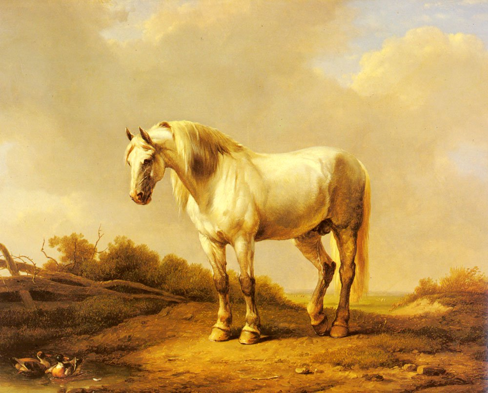 A White Stallion In A Landscape | Eugene Verboeckhoven | oil painting