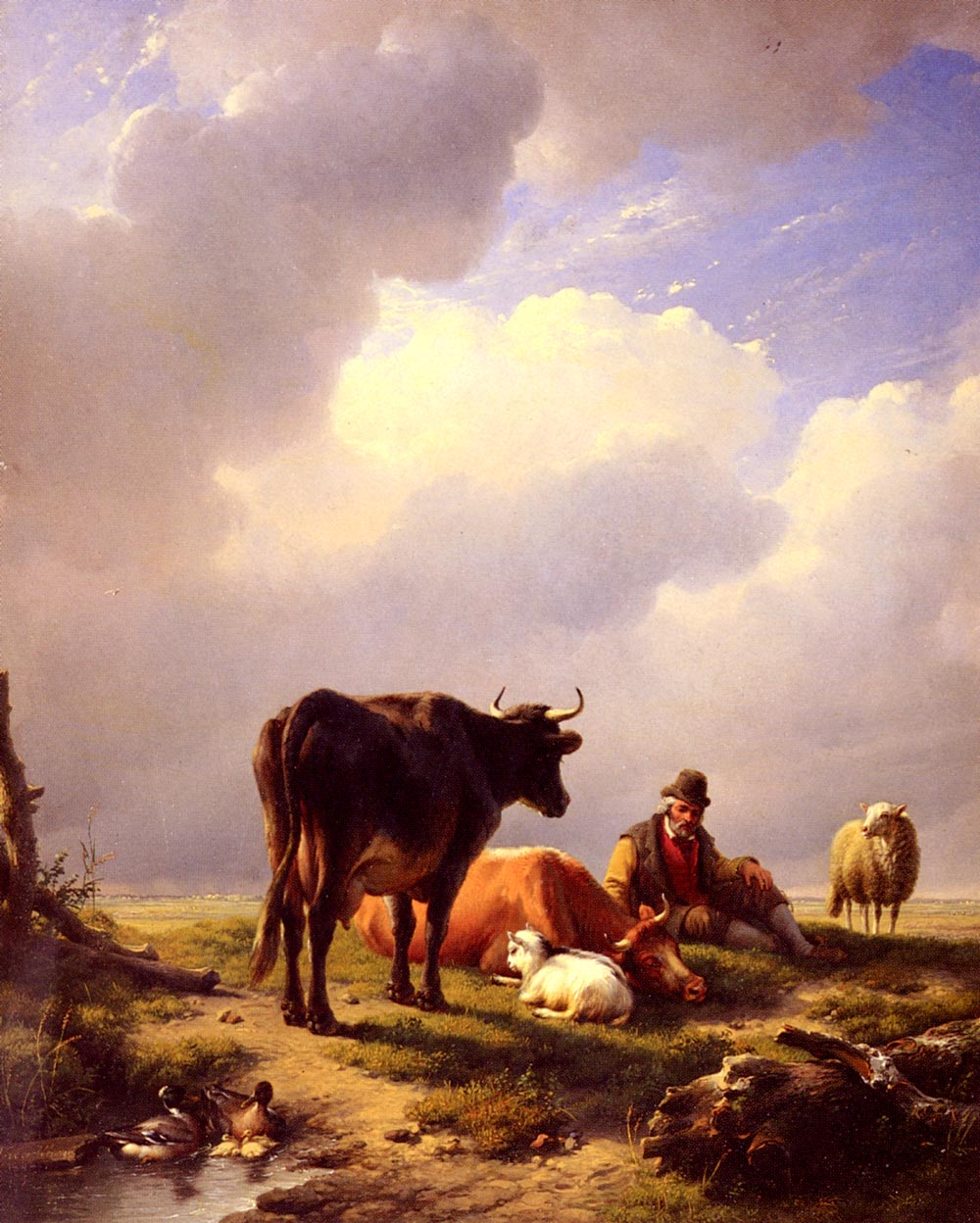 A Farmer At Rest With His Stock 1844 | Eugene Verboeckhoven | oil painting