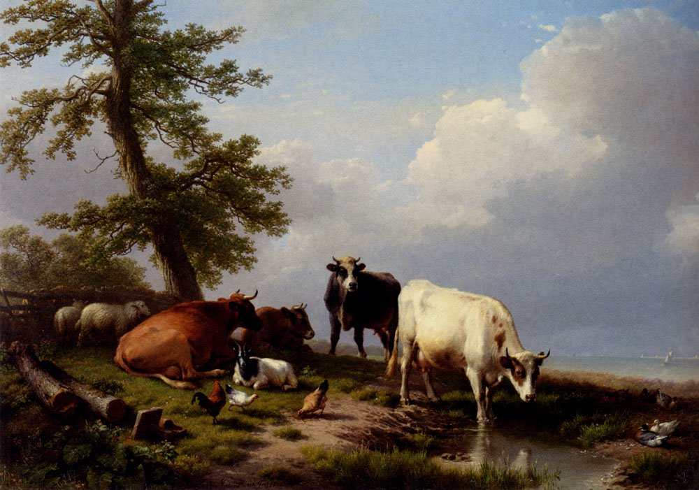 Animals Grazing Near The Sea 1866 | Eugene Verboeckhoven | oil painting
