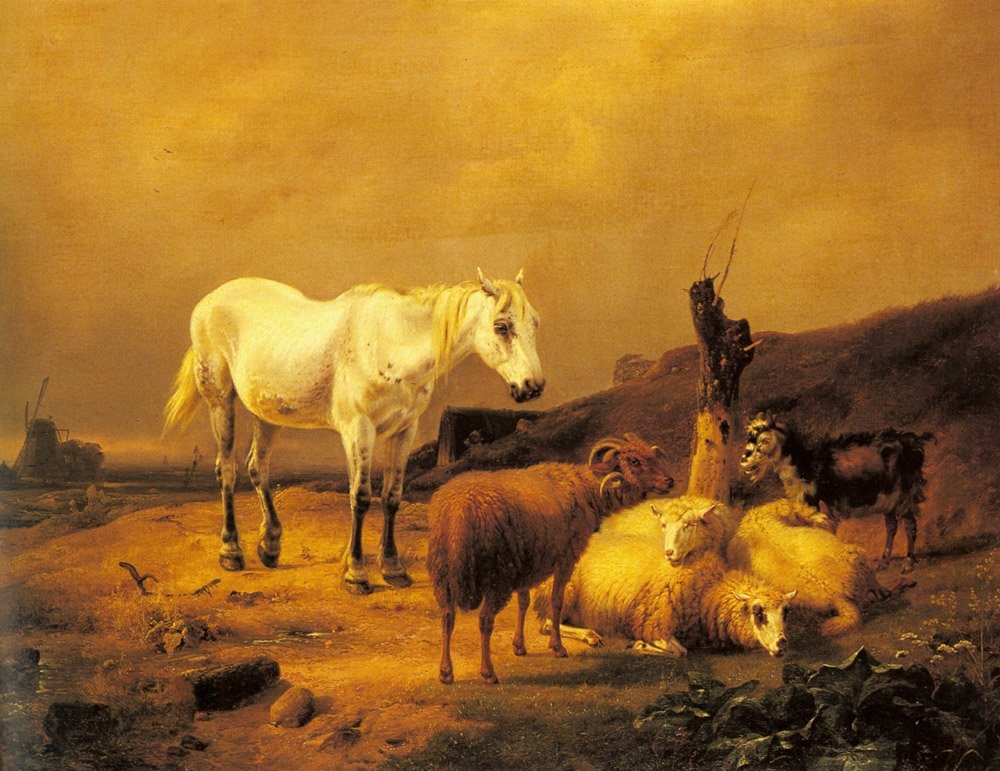 A Horse Sheep and a Goat in a Landscape | Eugene Verboeckhoven | oil painting