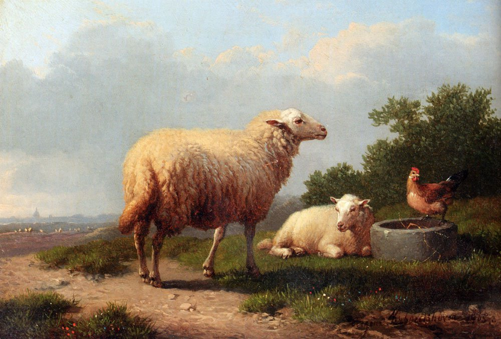Sheep In A Meadow 1865 | Eugene Verboeckhoven | oil painting