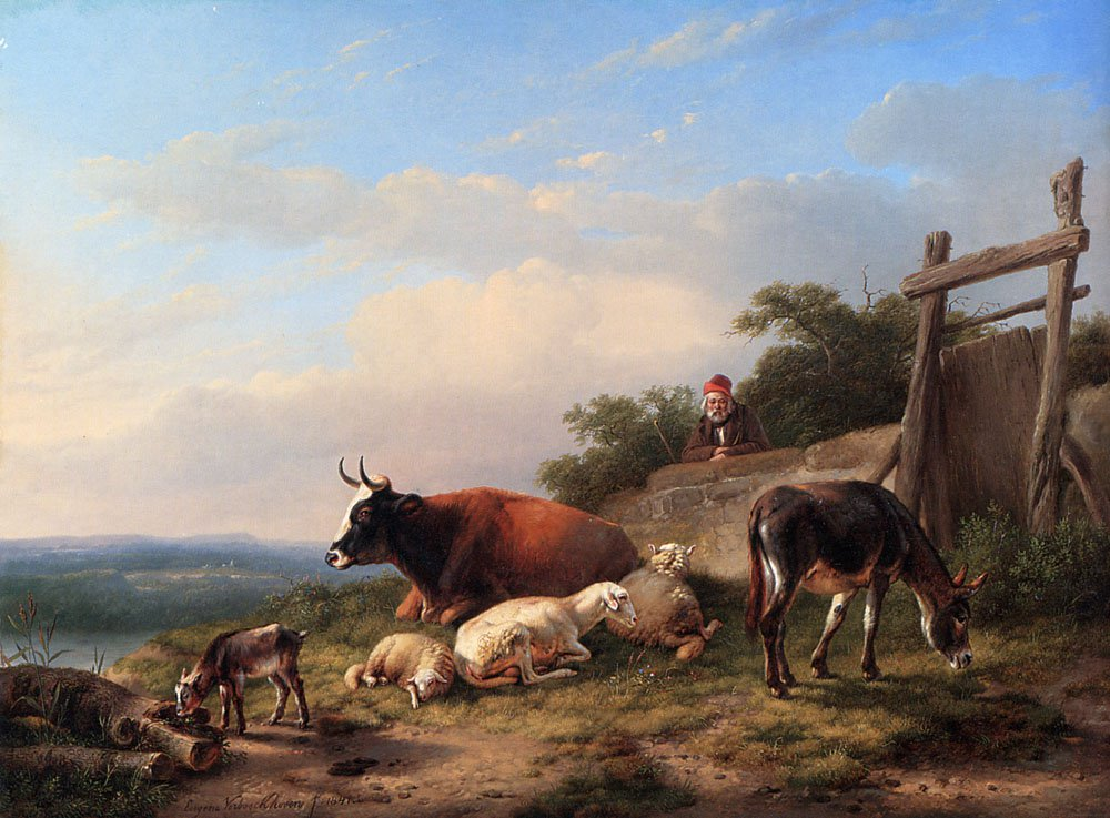 A Farmer Tending His Animals | Eugene Verboeckhoven | oil painting