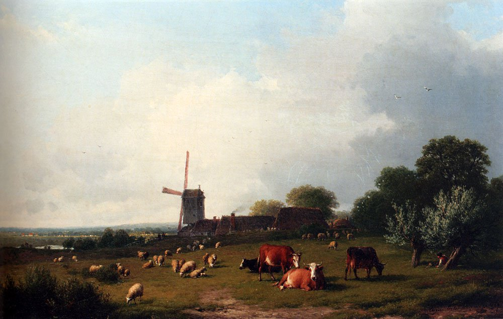 A Panoramic Summer Landscape With Cattle Grazing In A Meadow By A Windmill 1864 | Eugene Verboeckhoven | oil painting