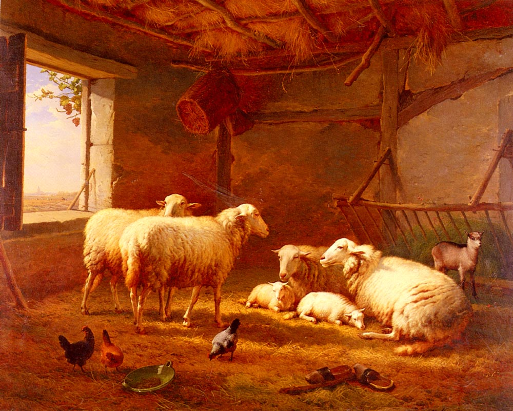 Sheep With Chickens And A Goat In A Barn 1877 | Eugene Verboeckhoven | oil painting