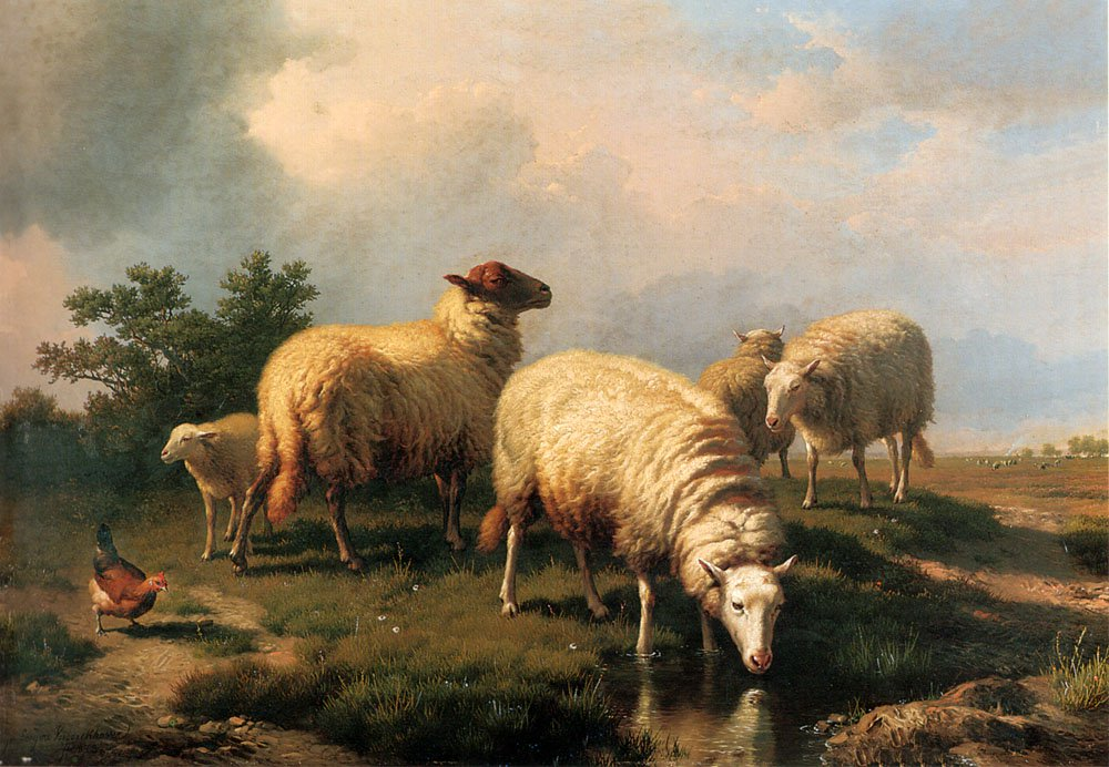 Sheep And A Chicken In A Landscape 1873 | Eugene Verboeckhoven | oil painting