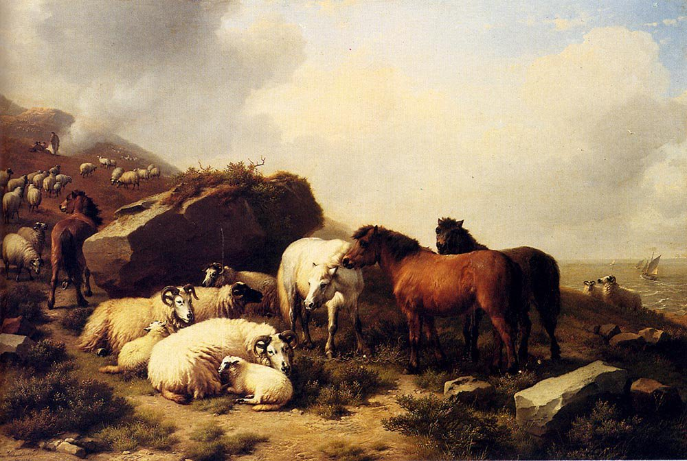Horses And Sheep By The Coast 1869 | Eugene Verboeckhoven | oil painting