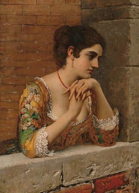 Venetian Beauty on Balcony | Eugene de Blaas | oil painting