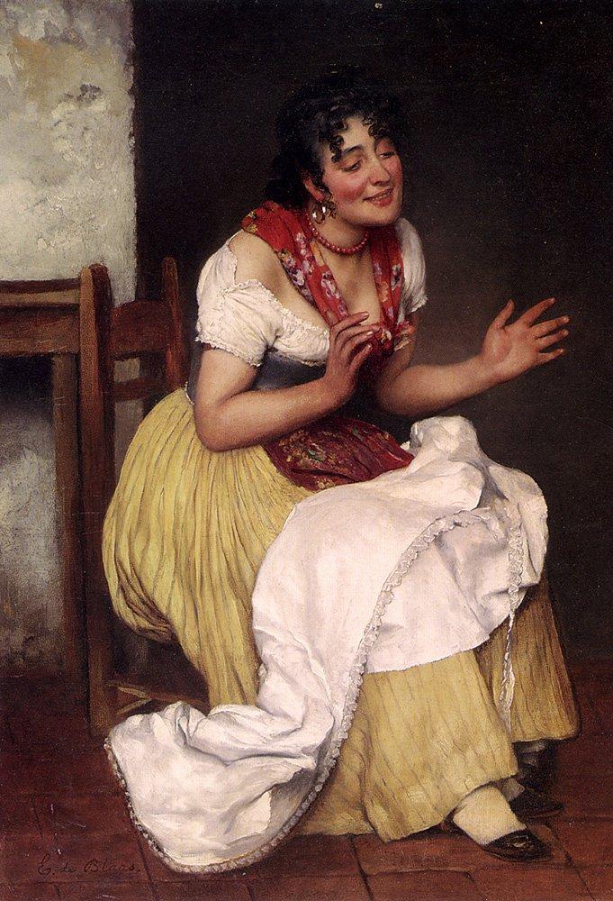 An Interesting Story | Eugene de Blaas | oil painting