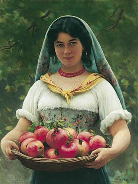Madchen mit Granatapfeln Girl with Pomegranates 1912 | Eugene de Blaas | oil painting