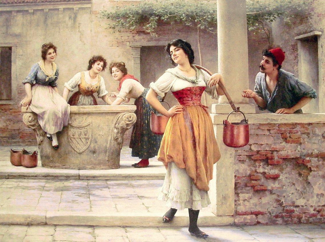 Flirtation at the Well 1902 | Eugene de Blaas | oil painting