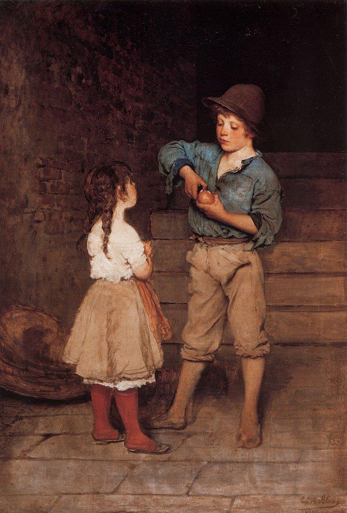 Zwei Kinder Two Children 1888 1889 | Eugene de Blaas | oil painting