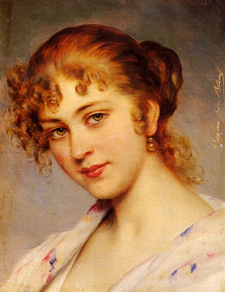 A Portrait Of A Young Lady | Eugene de Blaas | oil painting