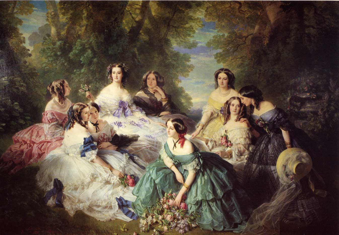 The Empress Eugenie Surrounded by her Ladies in Waiting 1855 | Franz Xavier Winterhalter | oil painting