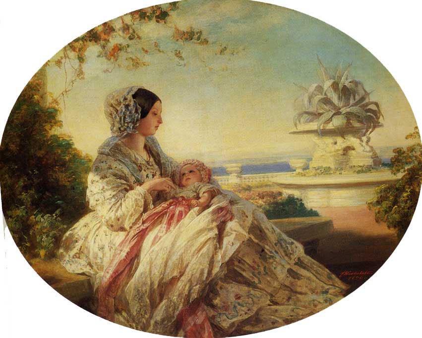 Queen Victoria with Prince Arthur 1850   Franz Xavier Winterhalter   oil painting