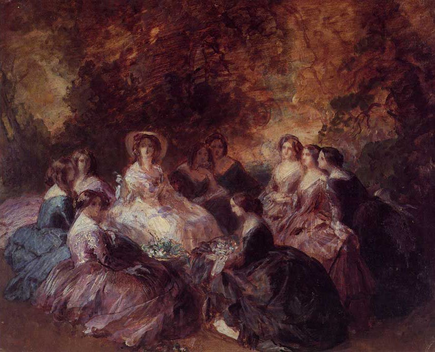 The Empress Eugenie Surrounded by her Ladies in Waiting 1855   Franz Xavier Winterhalter   oil painting