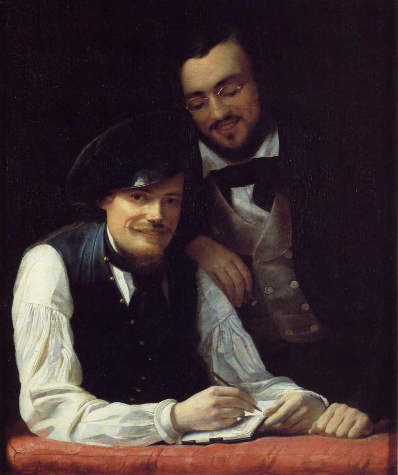 Self Portrait of the Artist with his Brother Hermann 1840   Franz Xavier Winterhalter   oil painting