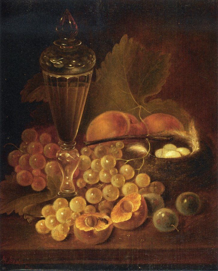 Still Life with Grapes Peaches Decanter and Nest of Eggs Date unknown | George Forster | oil painting