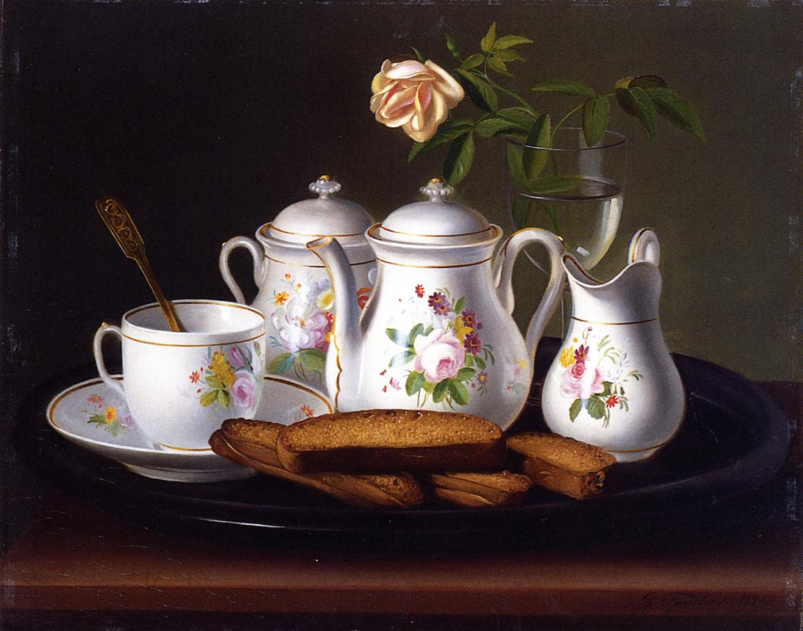 Still Life of Porcelain and Biscuits 1872 | George Forster | oil painting