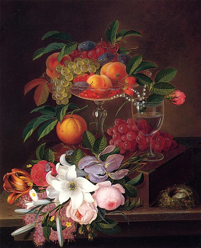 Still Life with Fruit Flowers and Bird's Nest Date unknown   George Forster   oil painting