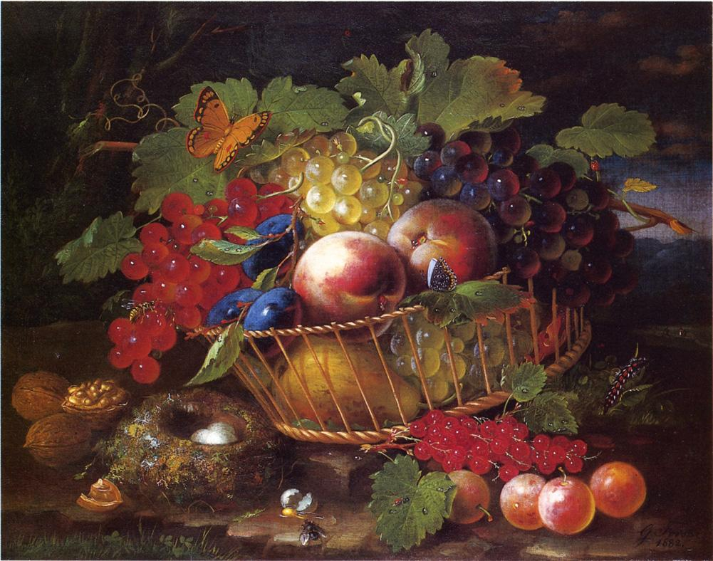 Still Life with Fruit Butterflies and Bird's Nest 1882 | George Forster | oil painting