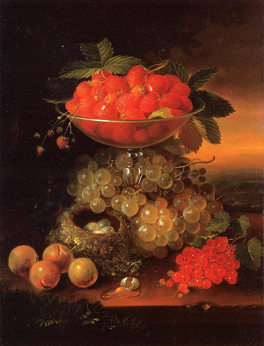 Still Life with Fruit ad Nest of Eggs 1869 | George Forster | oil painting