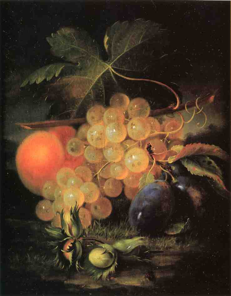 Still Life with Plum and Peach 1860 | George Forster | oil painting