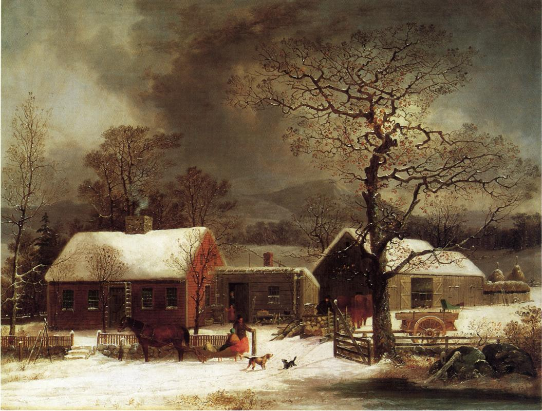Winter Scene in New Haven Connecticut 1858 | George Henry Durrie | oil painting