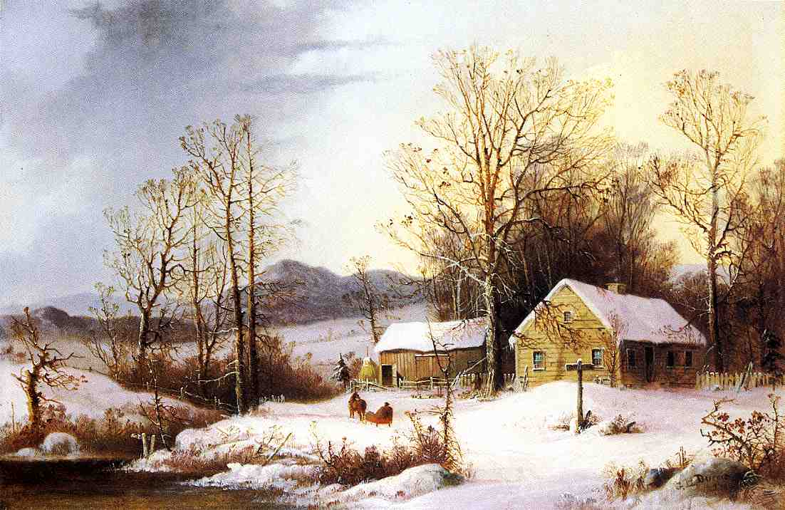 Farmstead in Winter 1860 | George Henry Durrie | oil painting