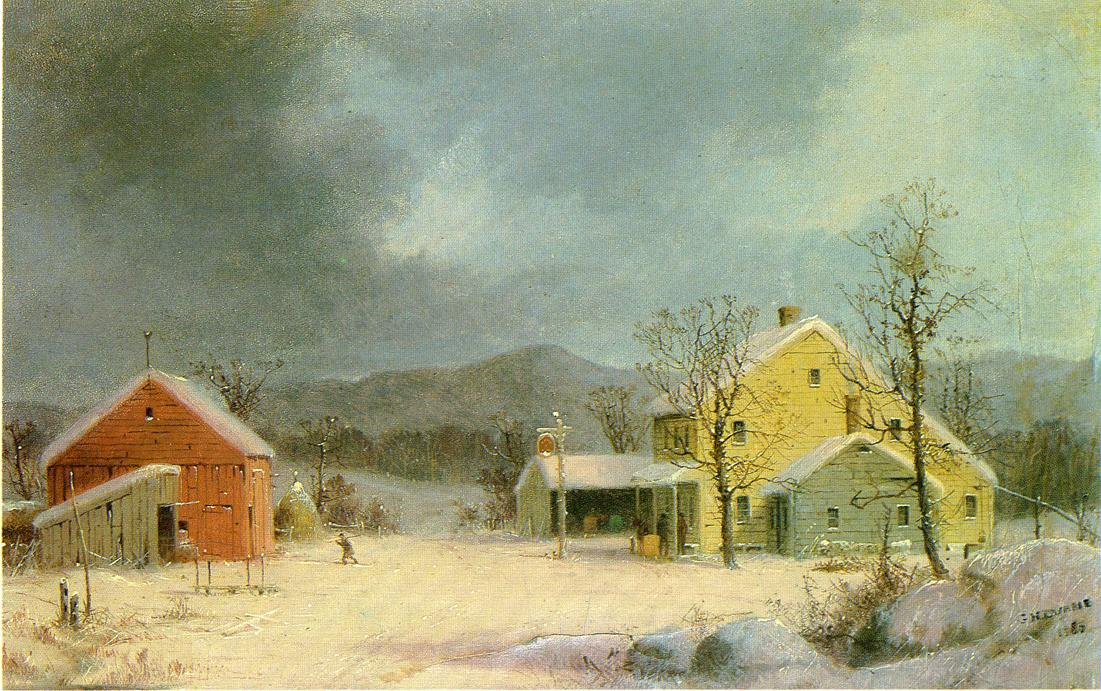 Yellow Farmhouse in Winter 1859 | George Henry Durrie | oil painting