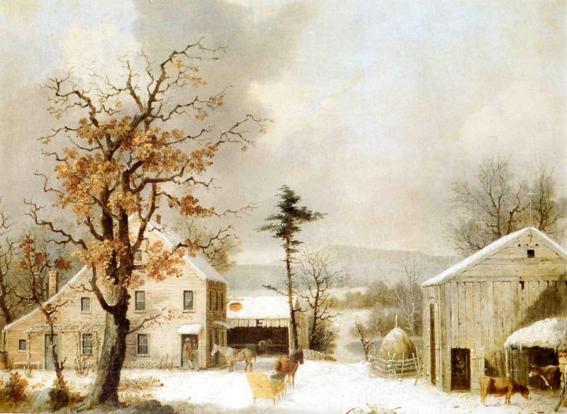 Jones Inn Winter 1855 | George Henry Durrie | oil painting