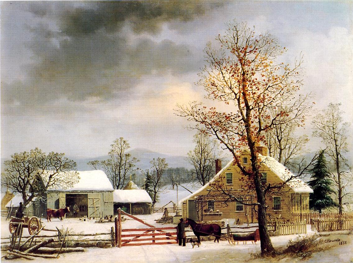 New England Winter Scene 1858 | George Henry Durrie | oil painting