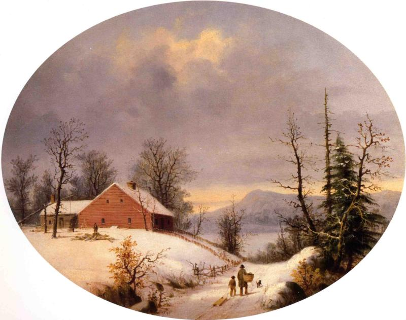 Winter Farmyard and Travelers 1855 | George Henry Durrie | oil painting