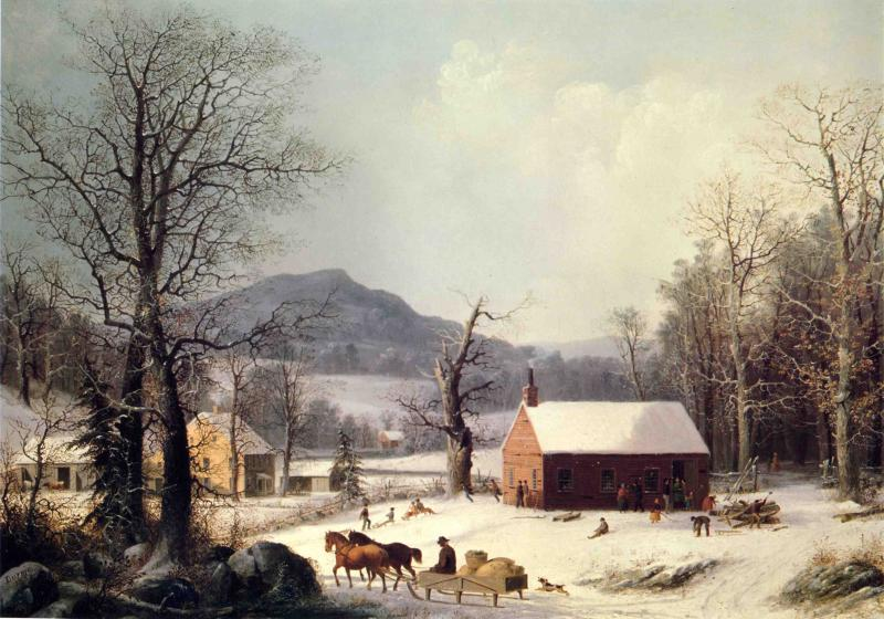 Red School House Winter 1858 | George Henry Durrie | oil painting
