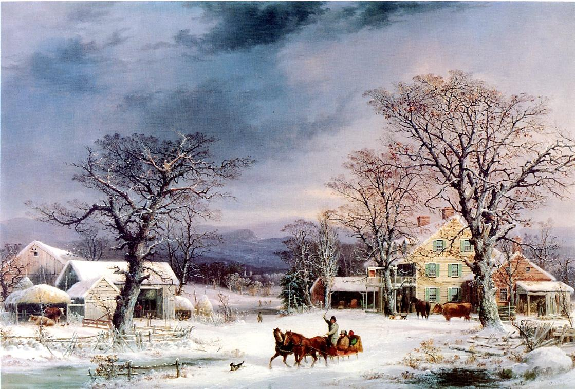 The Half Way House 1861 | George Henry Durrie | oil painting