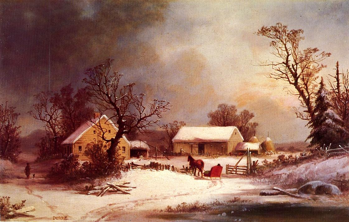 Winter time on the Farm | George Henry Durrie | oil painting