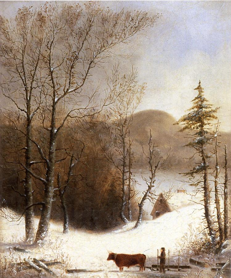 Winter Landscape with Log Cart 1855 | George Henry Durrie | oil painting