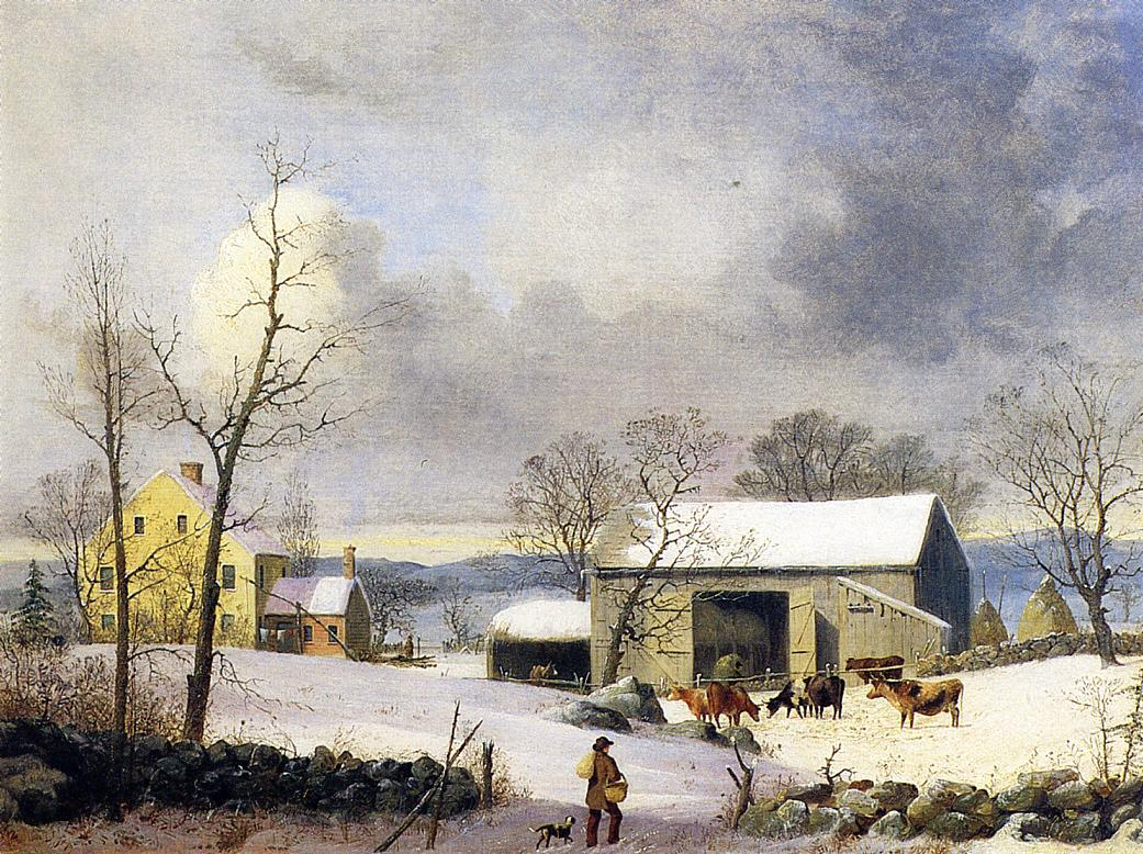Winter in the Country Farmyard 1858 | George Henry Durrie | oil painting