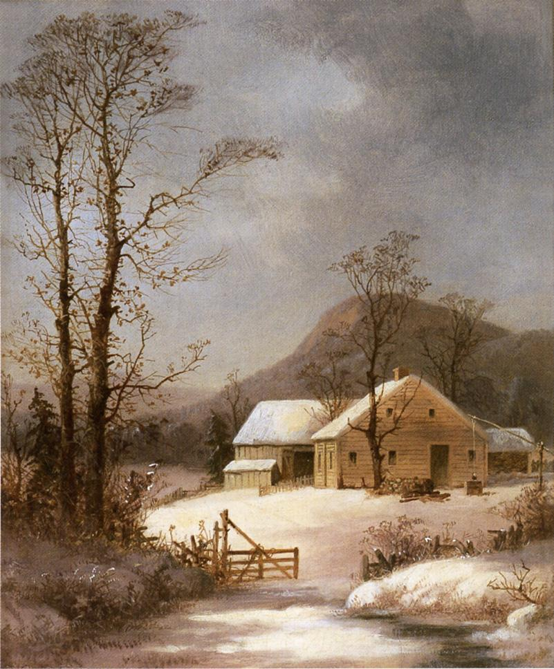 Winter Farmyard 1855 | George Henry Durrie | oil painting