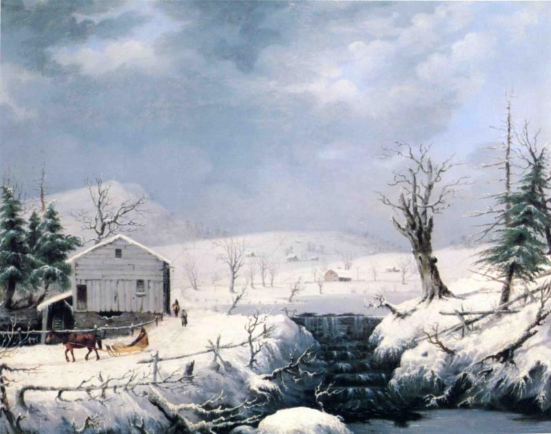 Winter in New England 1852 | George Henry Durrie | oil painting