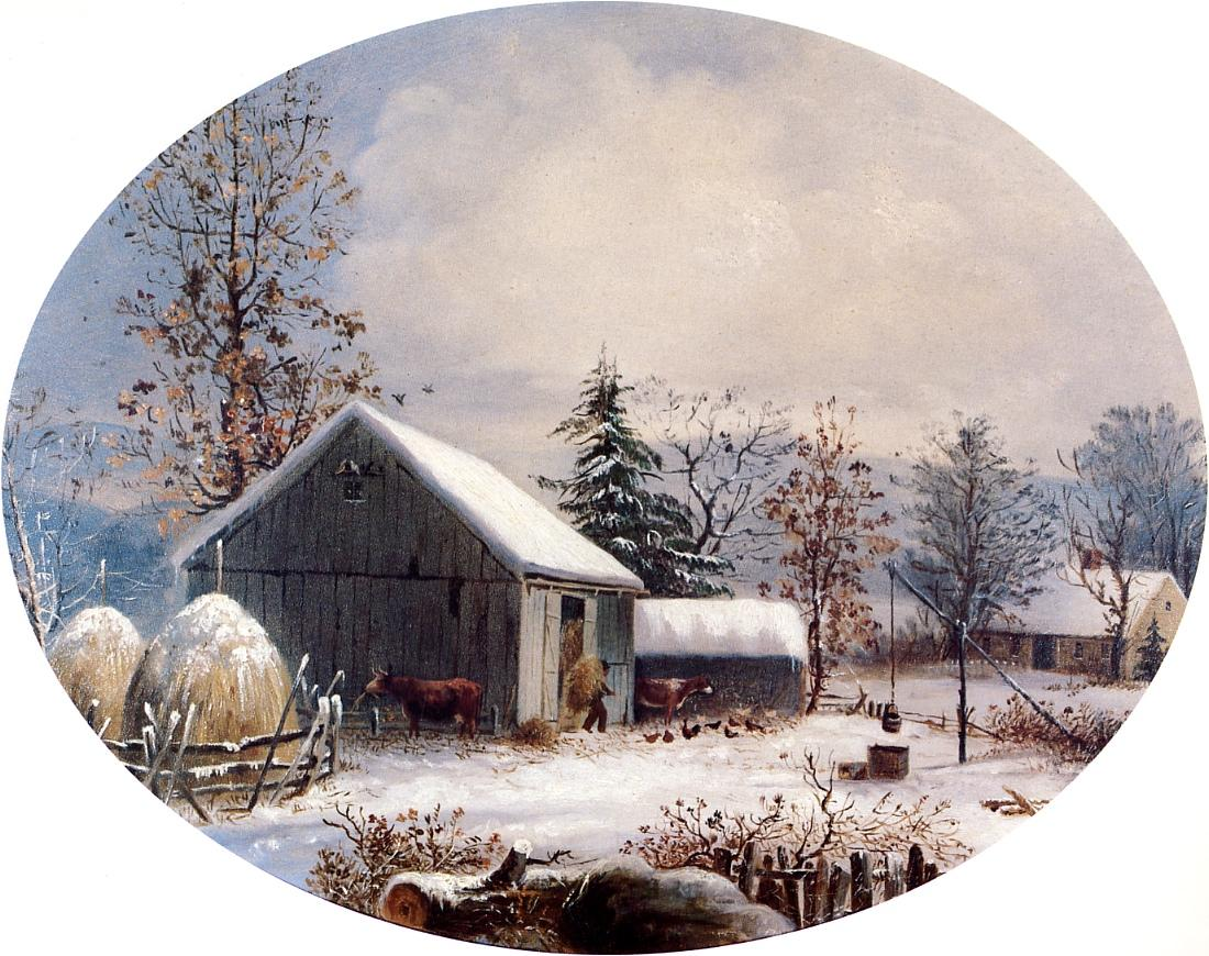 Farmyard in Winter 1855 | George Henry Durrie | oil painting