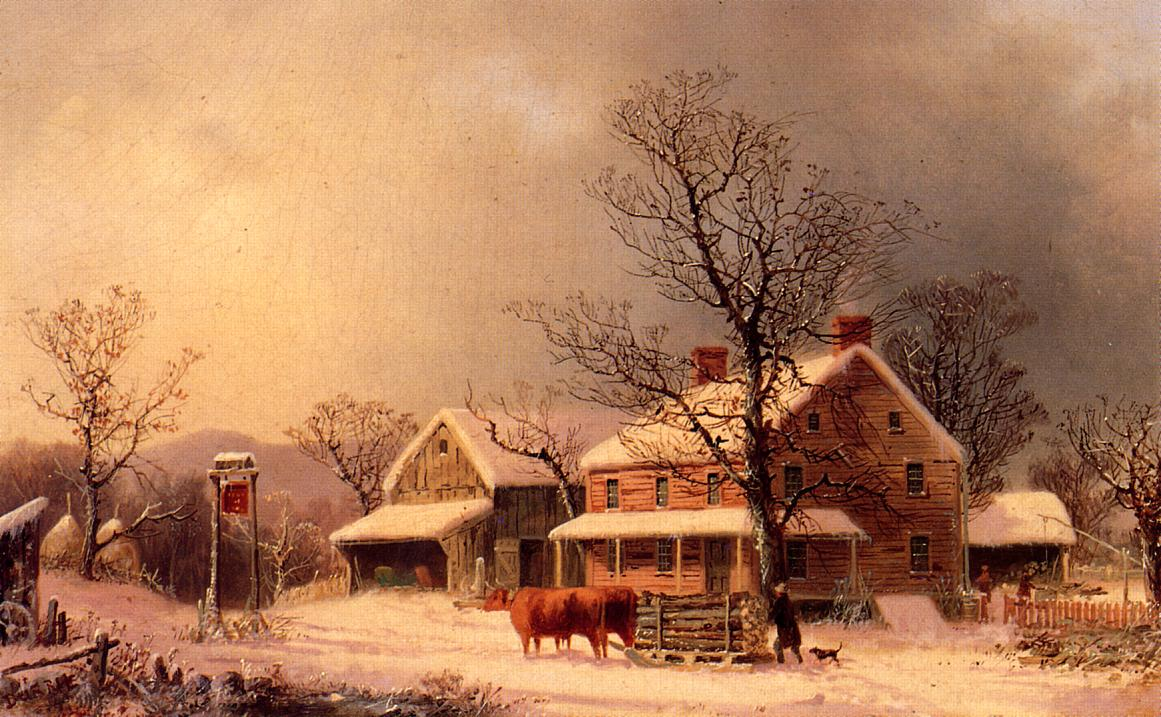 Oxen Hauling Logs on a Sled 1860 | George Henry Durrie | oil painting