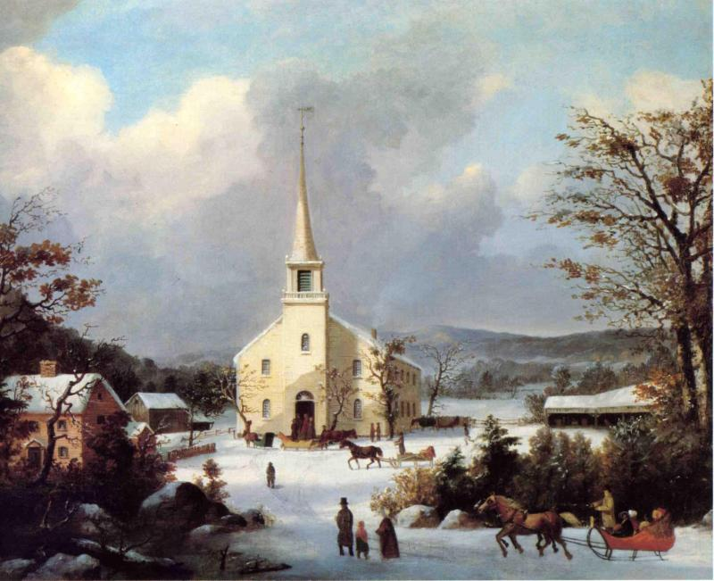 Going to Church 1853   George Henry Durrie   oil painting