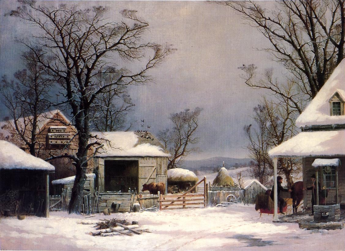 Farmyard Winter 1862   George Henry Durrie   oil painting