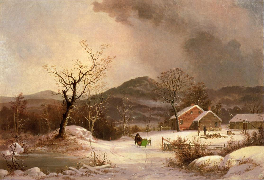 Farmstead and Sleigh in Winter 1863 | George Henry Durrie | oil painting