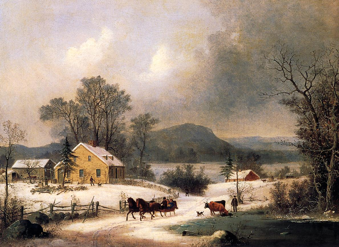 A Sleigh Ride in the Snow 1860 | George Henry Durrie | oil painting