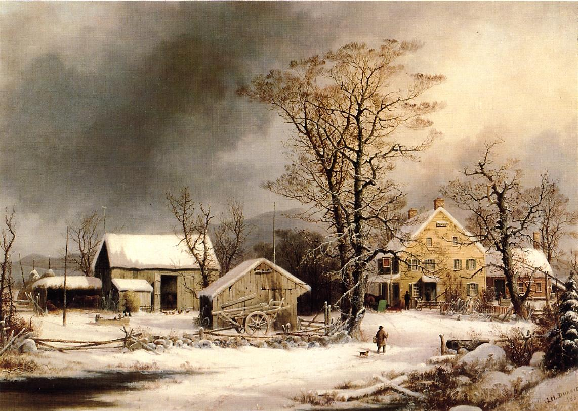 Winter in the Country A Cold Morning 1861 | George Henry Durrie | oil painting