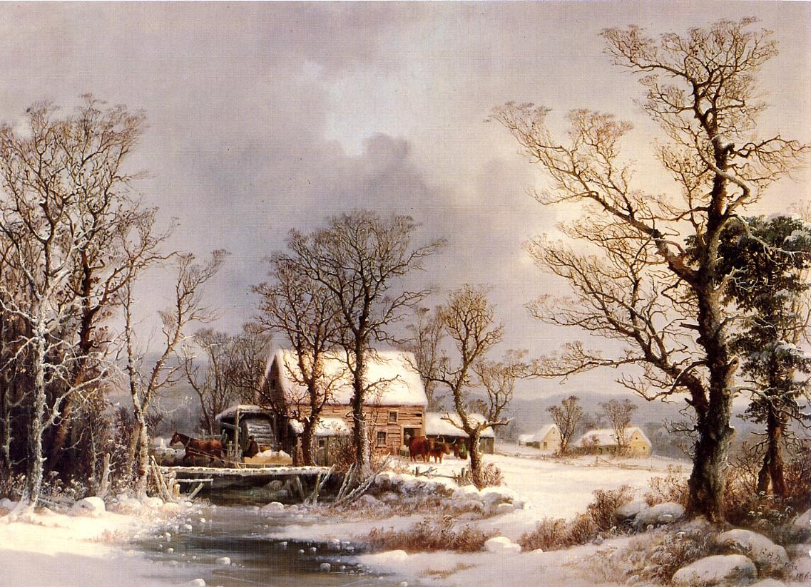 Winter in the Country The Old Grist Mill 1862 | George Henry Durrie | oil painting