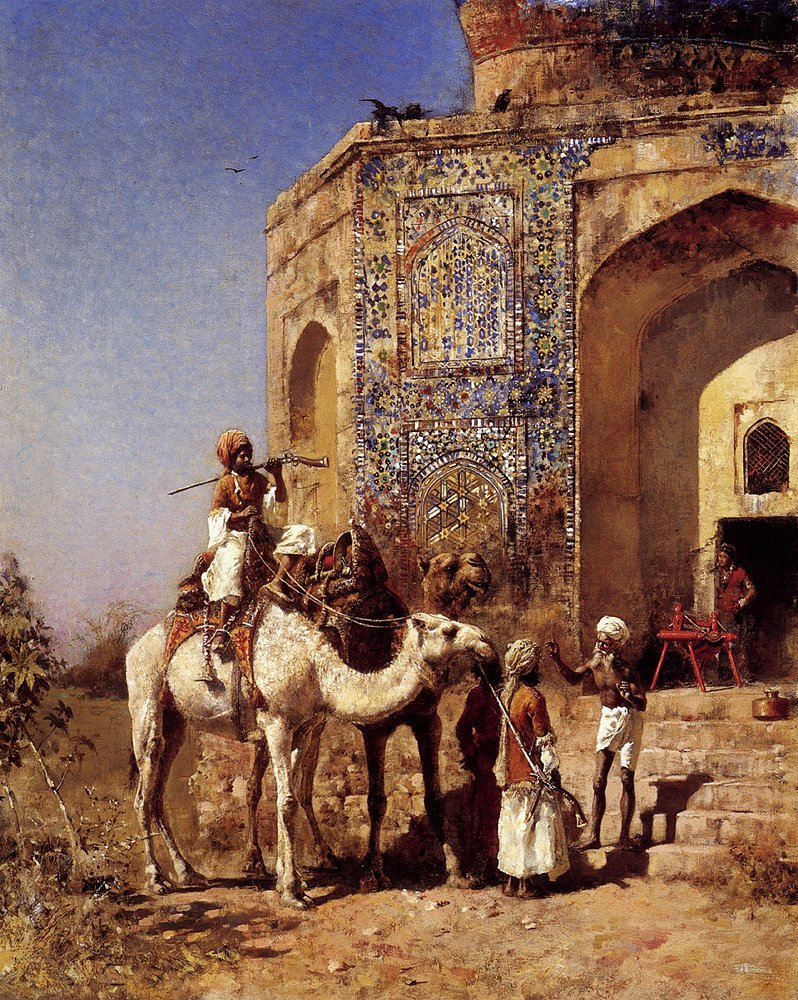 Old Blue Tiled Mosque Outside of Delhi India c.1883 | Edwin Lord Weeks | oil painting