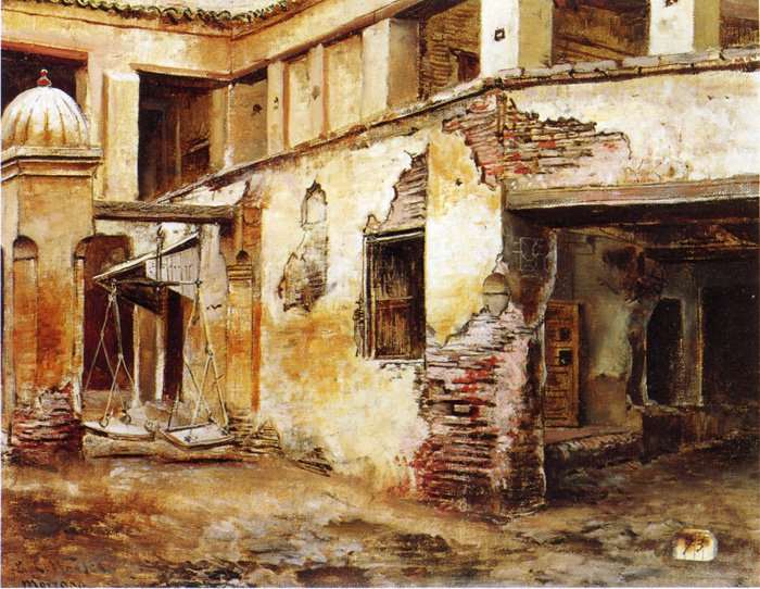Courtyard in Morocco | Edwin Lord Weeks | oil painting