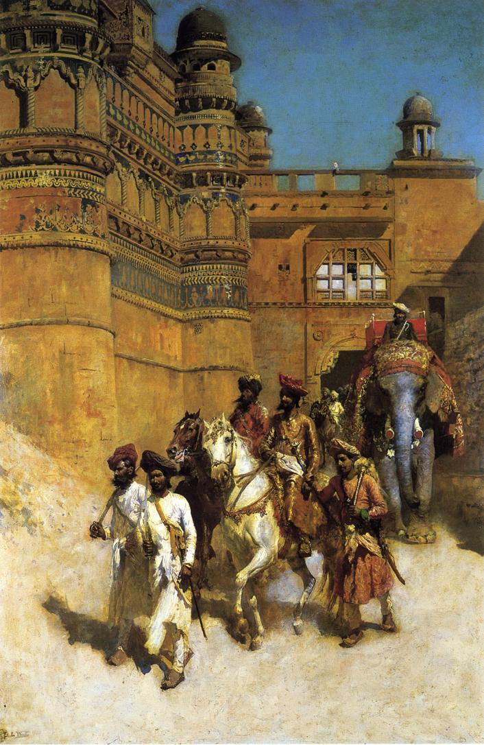 The Maharahaj of Gwalior Before His Palace c.1887 | Edwin Lord Weeks | oil painting